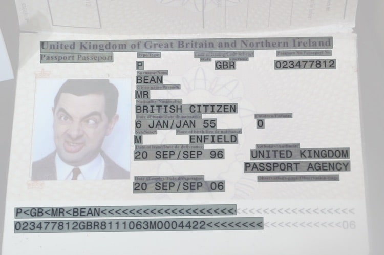 A passport processed by Amazon Textract