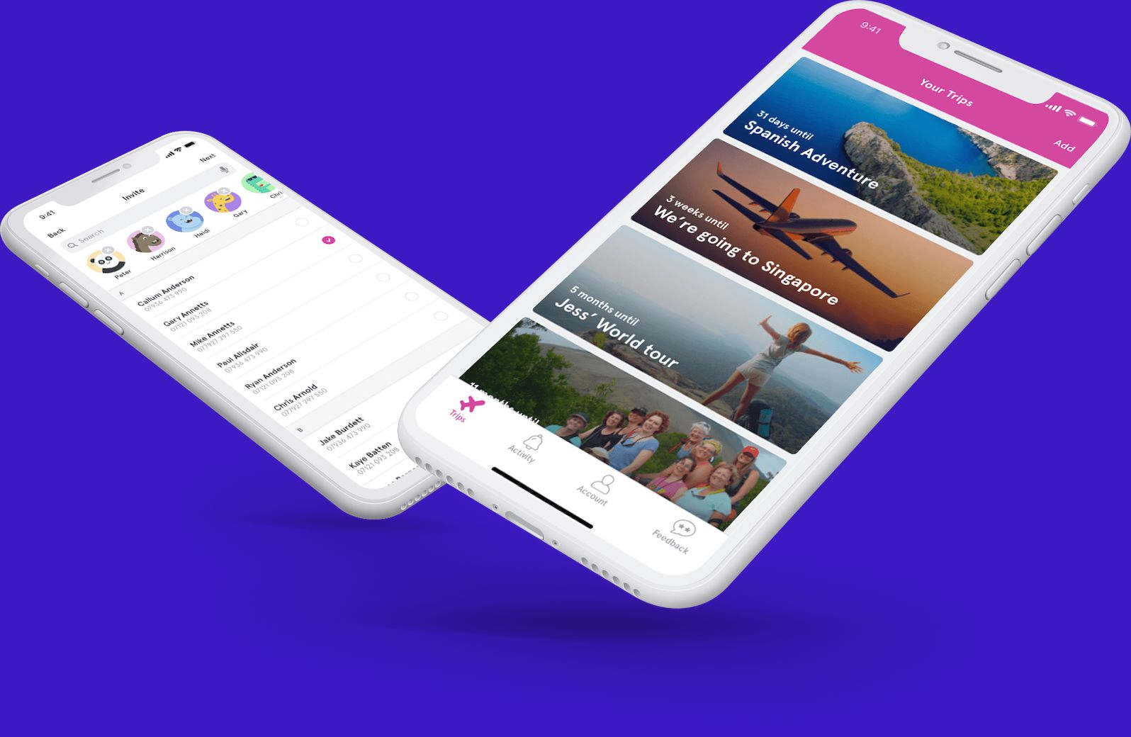 Holiday Extras' HEHA! Mobile app, showing several planned trips on some mobile devices.