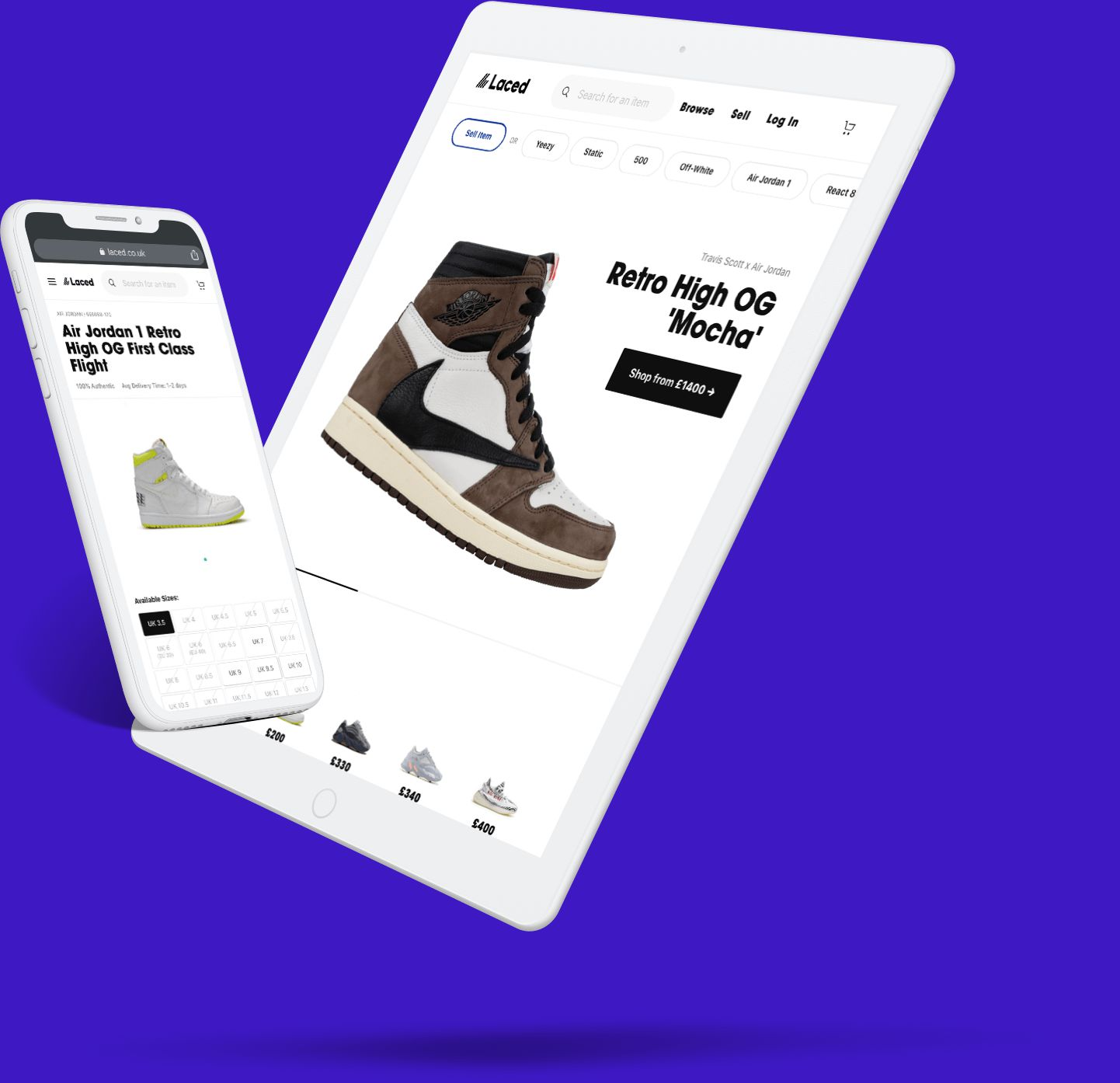 Laced's sneaker trading website shown on a tablet and mobile device.